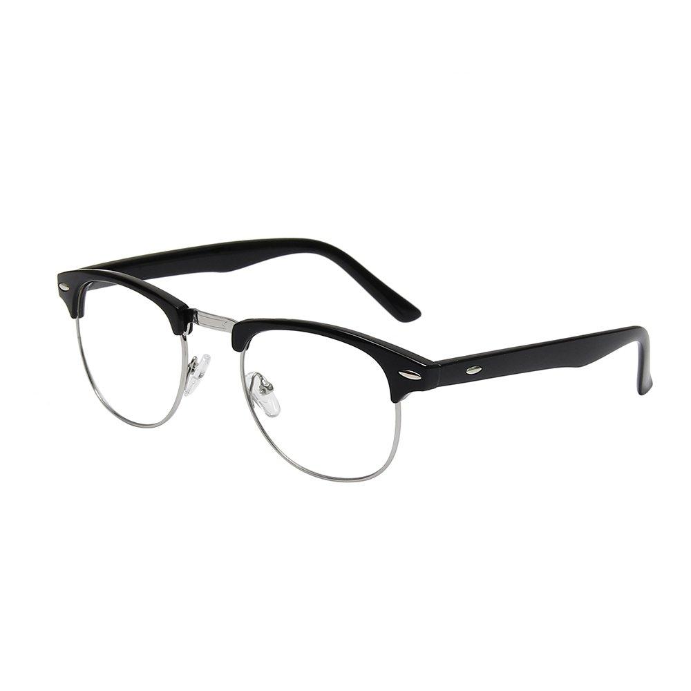 fa5f486df17 Get Quotations · Shiratori New Vintage Classic Half Frame Semi-Rimless Wayfarer  Clear Lens Glasses …