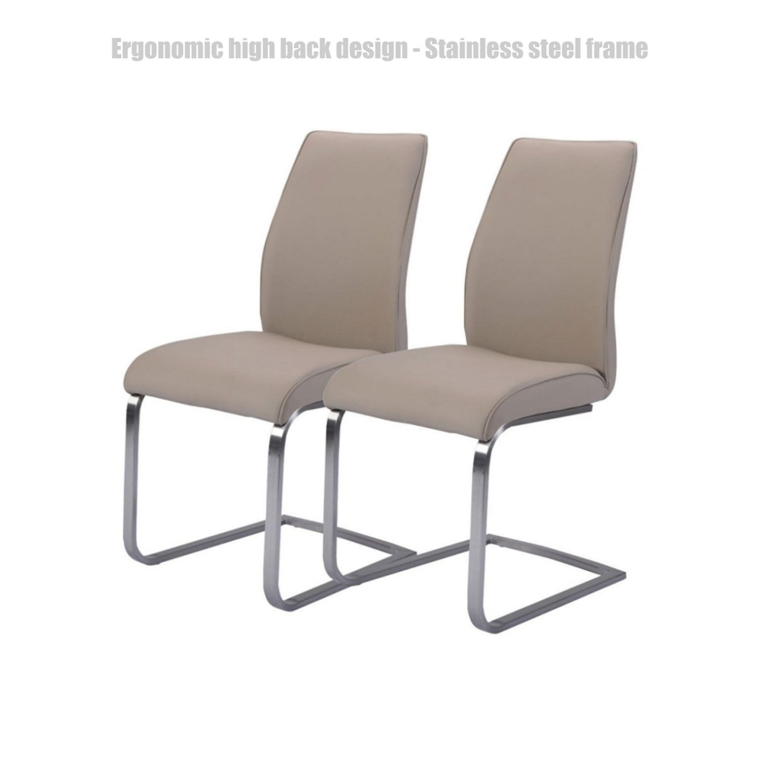 Ergonomic high back design dining chairs leather accent durable stainless steel frame high density padded cushion