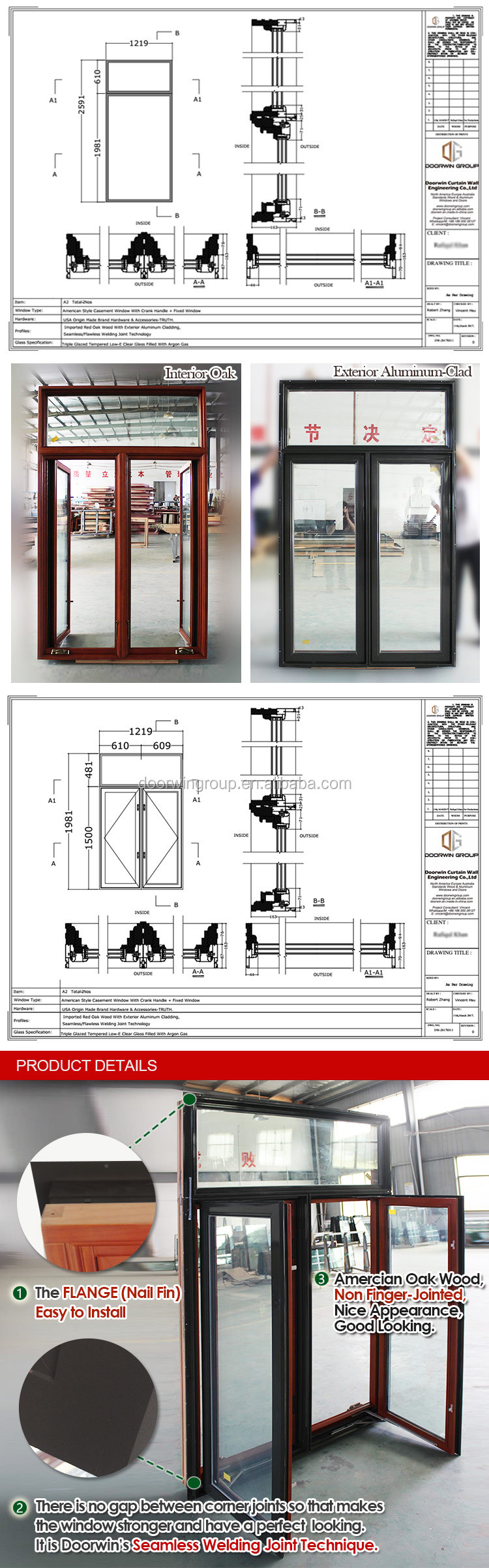 American NFRC NAMI Certified OAK Wood Crank Out Window with Grille Design