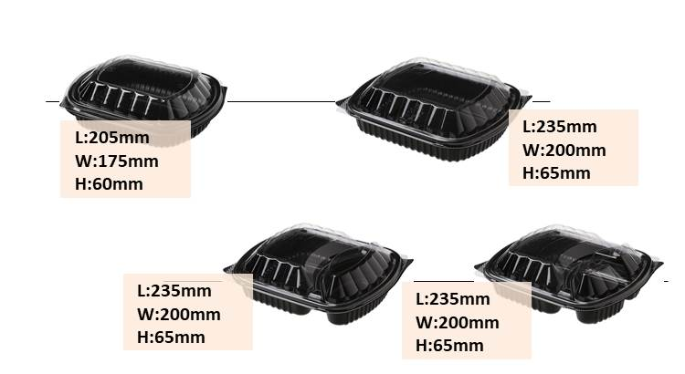 Disposable plastic home meal replacement food box