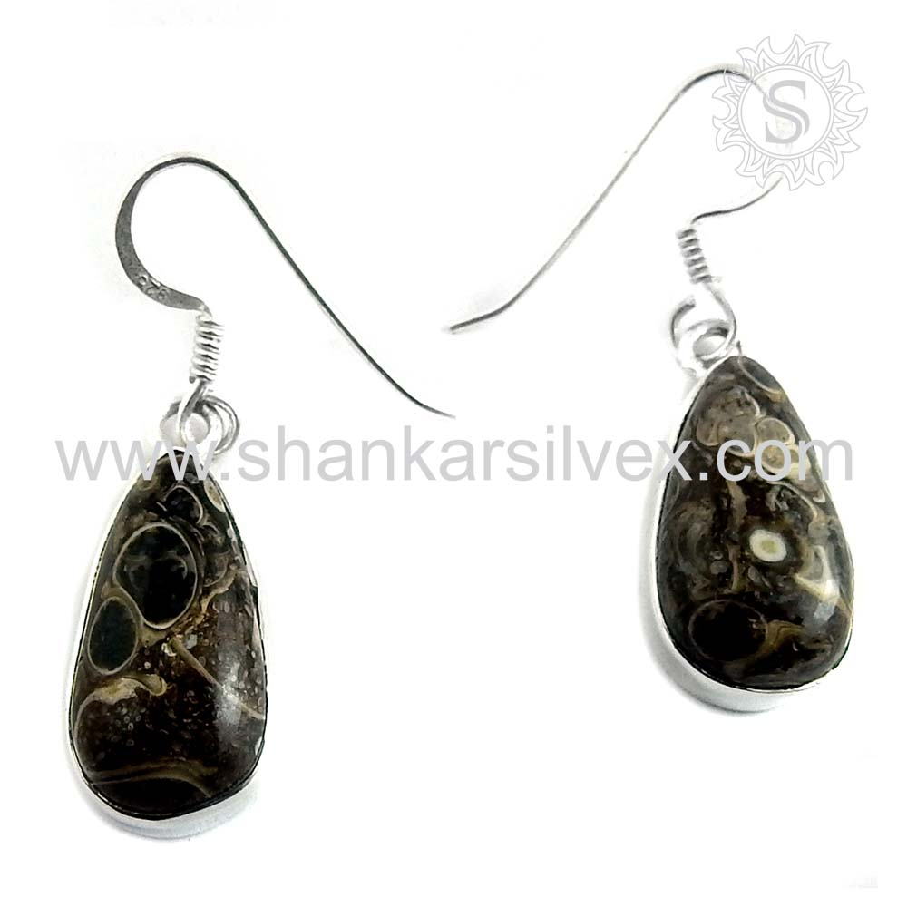 New arrivel cornold fossil gemstone 925 sterling silver earrings wholesale price jewelry