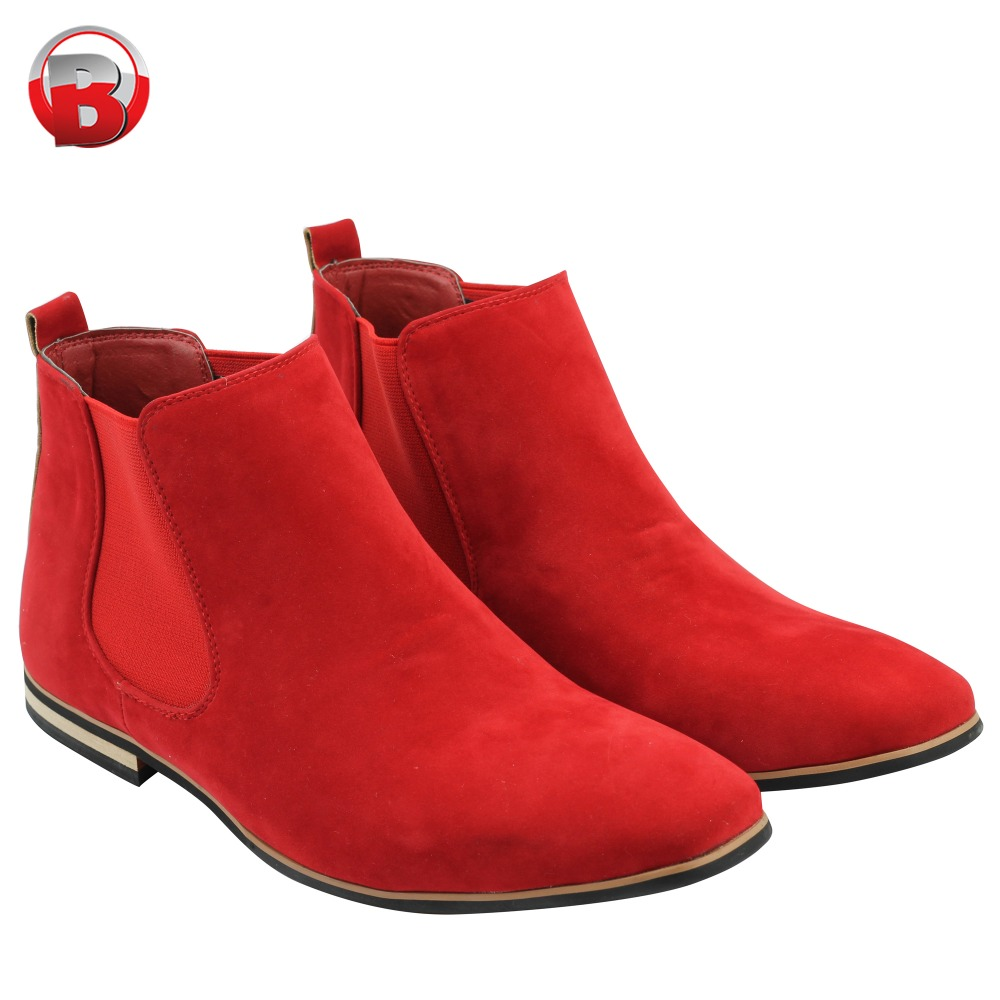 778f75e70e3 Red SUEDE Chelsea Boots Men High Quality Beautifully Designed Men D Boots