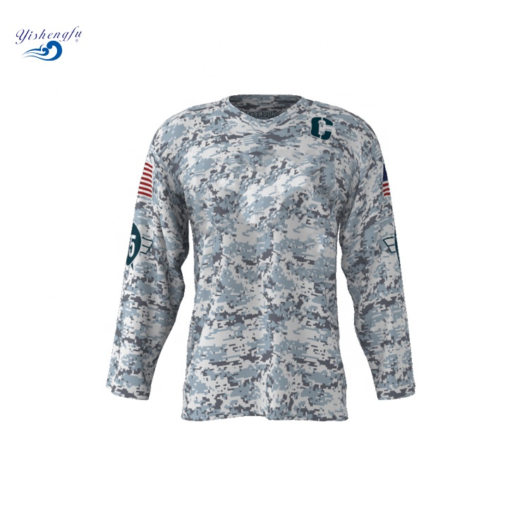 Custom sublimation 100% Polyester team club goalie cut camo hockey jerseys keine mindest