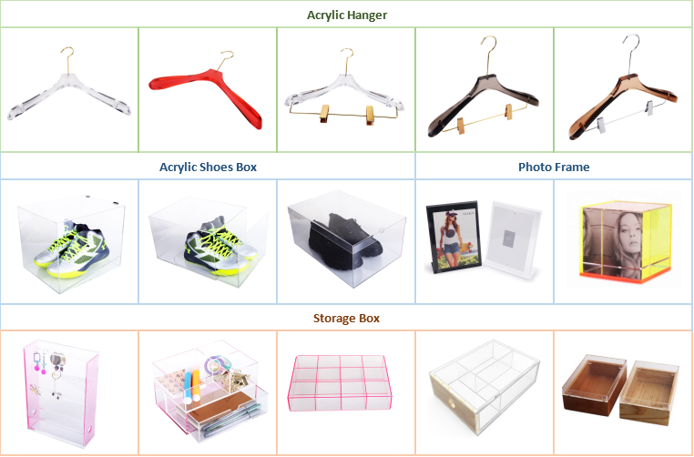 Wholesale wall mounted clothes hanger made of clear acrylic with bar slot can be printed logo
