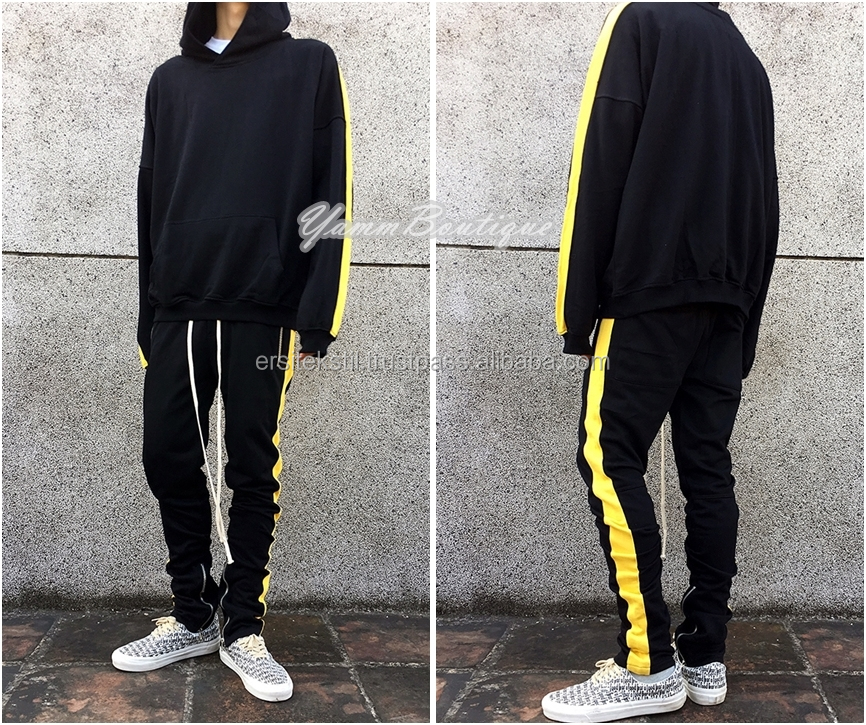 654f3790d 2019 Men s Reversed Double Striped Track Pant and Hoodie Side Zipper   GymWear Contrast Stripe Side Muscle Fit Custom Tracksuit