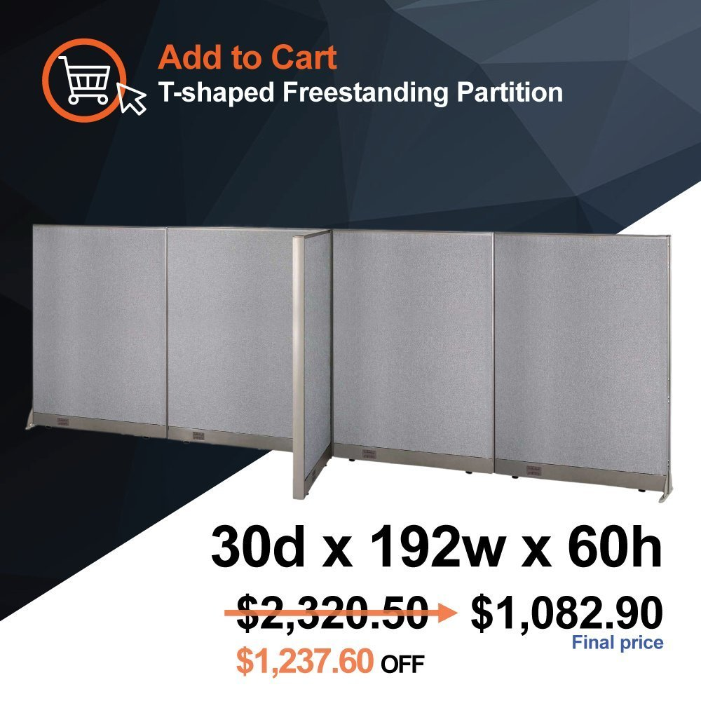 GOF [Limited Time Special] T-Shaped Office Freestanding Partition 30D x 192W x 60H Room Divider Wall Divider Wall Panel Office Wall
