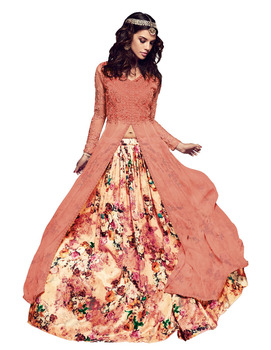 47ecf86a7c Royal Peach Color Gown Style Georgette Anarkali Suits 2017 (Semi-Stitched)