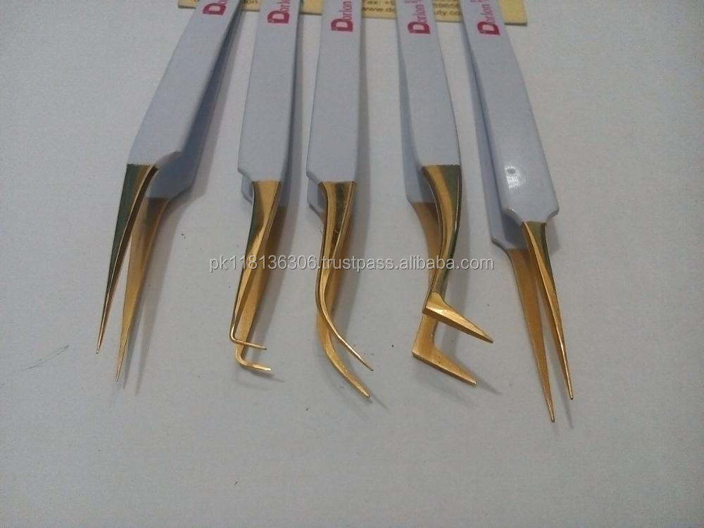 Hot 3pcs Blue Plasma Straight/Straight Volume/Semi Curved Eyelash Extension Tweezers With Pink PU Pouch