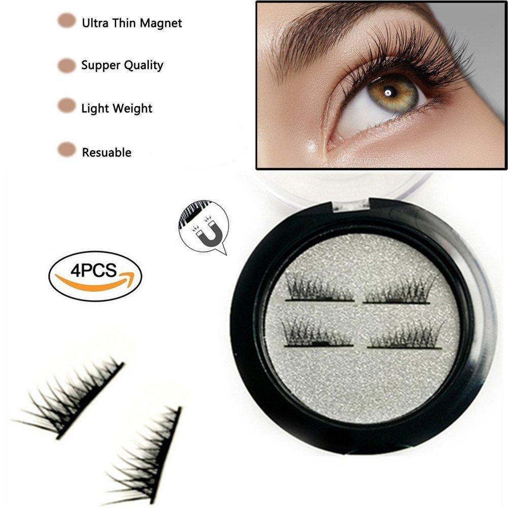 5e54f17a49f Get Quotations · ABCDOK False Magnetic Eyelashes, Magnetic False Eye Lashes  Magnet Eyelashes, 1 pair (4