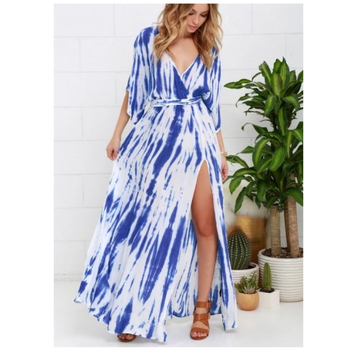 New fashion long poncho designer kemono maxi dresses for women clothing Tie dye dress from 2018
