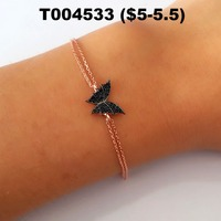 2018 Wholesale Fashion Zircon Stone Rose Gold Plated 925 Sterling Silver Jewelry Charm Bracelet