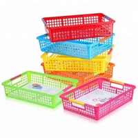 Cheap Sturdy Plastic Paper Organizer Baskets with Handles Classroom Colorful File Holder Teacher School Supplies Storage Trays