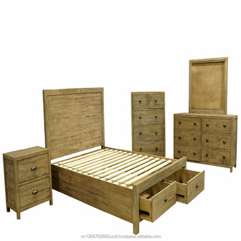 Reclaimed Pine Wood Bedroom Furniture