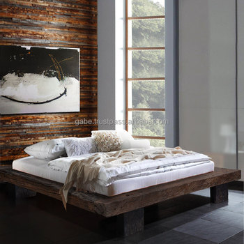 Furniture Low Bed Anese Style King Size With Reclaimed Solid Wood