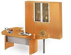 "Mayline Executive Desk 116""W X 103""D X 80"" H Desk 72""W X 36""D, Curved Desk Extension 47""W X 28""D & Return 63""W X 24""D - Golden Cherry"
