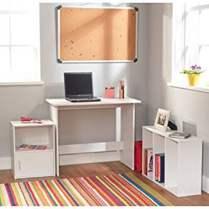 Study Set, 3-Piece Children Desk Set in White Color, Made of Engineered Wood, Home Furniture, Children Room Set of Three Pieces, Desk, Storage Cube, Bookcase with 3 Shelves Included, BONUS e-book