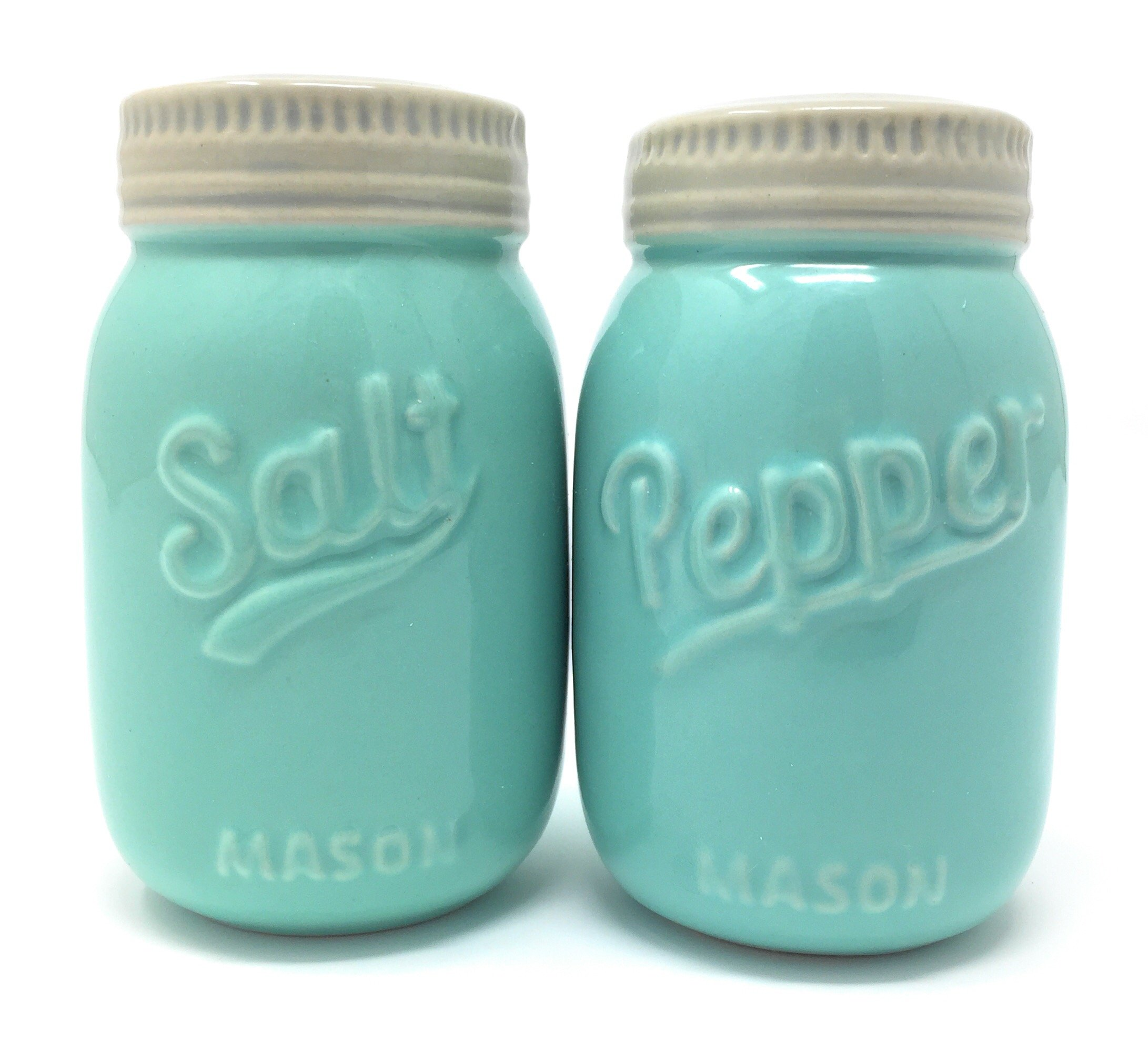 Vintage Mason Jar Salt and Pepper Shakers - Rustic, Farmhouse, Shabby Chic Mason Jar Decor - Mint Blue Sturdy Ceramic Shakers make for Adorable Decorative Farmhouse Kitchen Decor