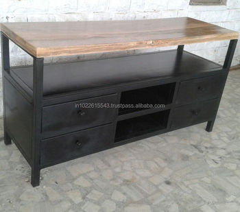 Industrial Furniture Tv Stand Metal Wood Tv Uni With 4 Drawer And Self Buy Tv Stand With Drawers And Shelvesmetal Legs Tv Standindustrial