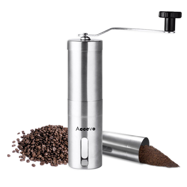 Manual Coffee Grinder, Accevo Hand Coffee Grinder & Coffee Press, Perfect Coffee Grinder for French Press, Espresso or as a Spice Grinder or Herb Grinder