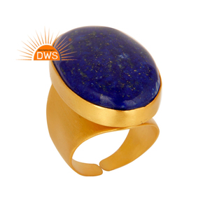 18k Gold Plated Natural Lapis Lazuli Gemstone Brass Women Ring Fashion Jewelry Wholesaler