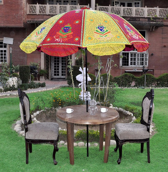 Indian Decorative Handmade Embroidery Work Outdoor Umbrella, Sun Umbrella, Garden  Umbrella, Indian Umbrella