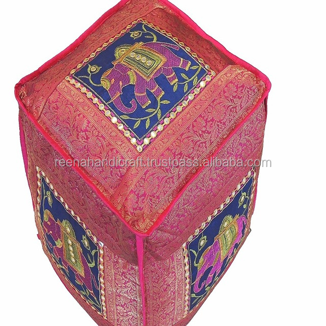 Indian Beautiful Elephant Embroidered Floor Seating Pouf - Hot Pink, Gold and Blue Indian Handmade Decorative Ottoman Cover