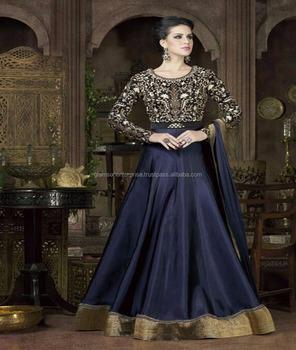 1758f6d884 Latest Designer Blue color Heavy Tapeta Silk embroidered anarkali salwar  suit- 4802(B)