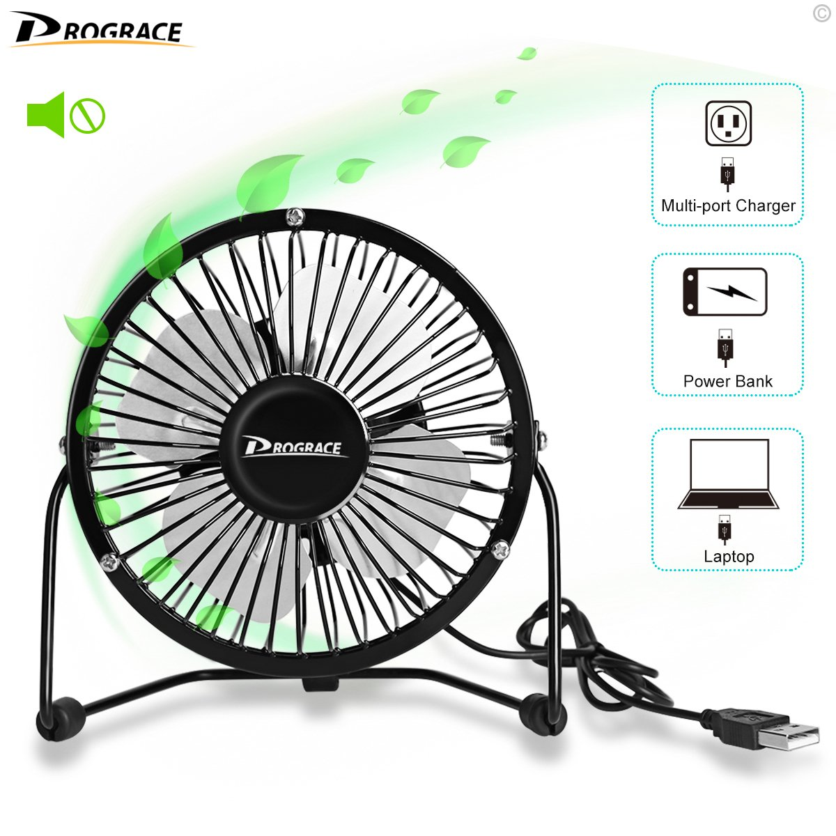 Drograce 4 Inch Mini USB Fan, Office Table Desk Personal USB Powered Fans Durable Metal Design 360 Degree Rotate Quiet Small Air Cooler Fan (Black)