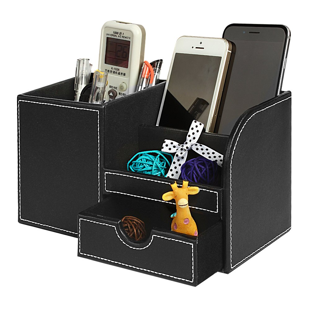 Leather Desk Organizer with Drawer, Jokovian Multi-function Pencil Holder f or Desk to organize Pen, Pencil, Name Cards, Phone, Key, Remote Control Holder for Home, Office, School (Medium, Black)