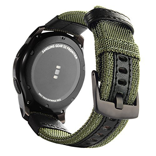 Gear S3 Bands Nylon, Maxjoy S3 Frontier Classic Band 22 mm Woven Nylon Replacement Strap Large Sport Wristband Bracelet with Stainless Steel Metal Buckle for Samsung Gear S3 Smart Watch, Army Green