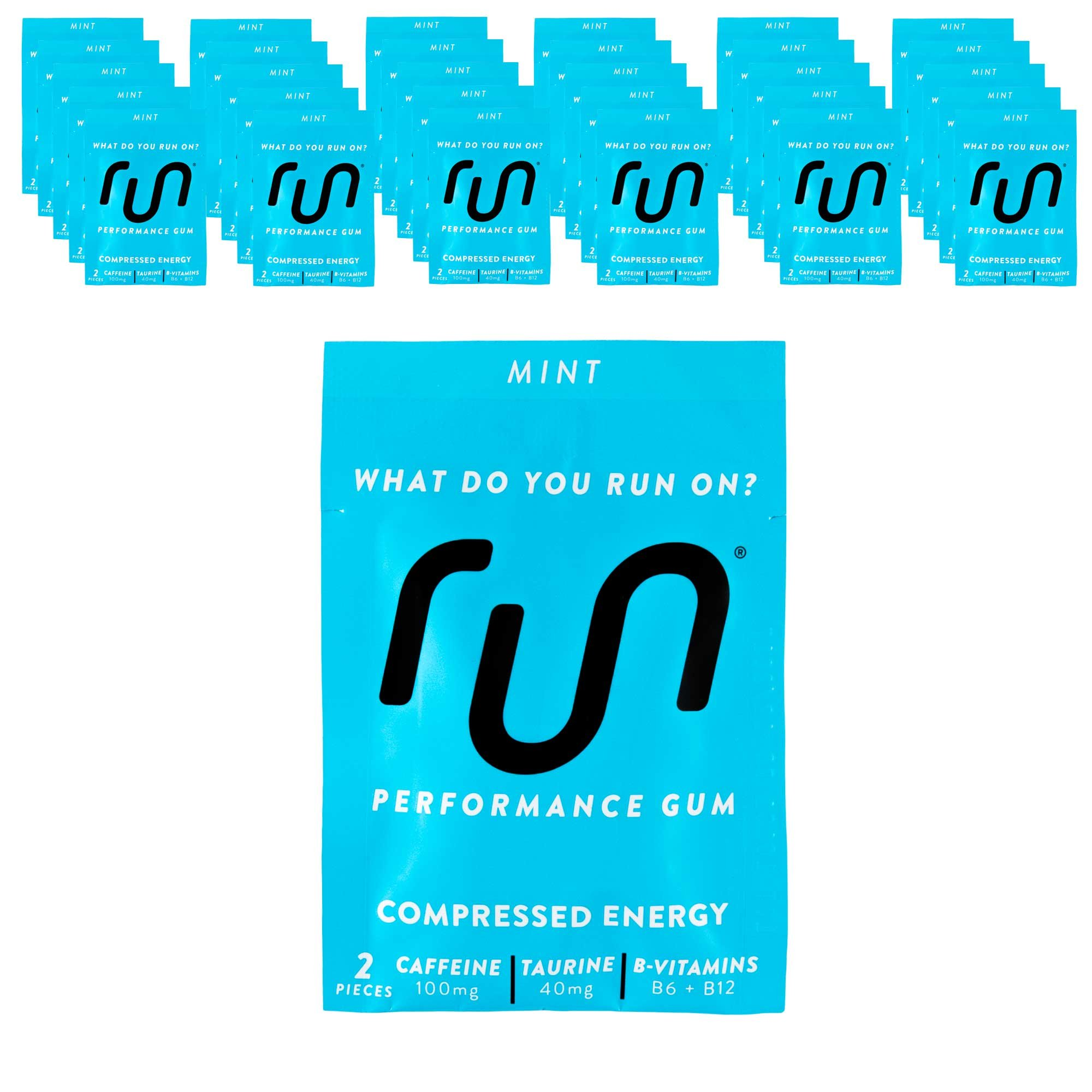 RUN GUM Mint Energy Gum 50mg Caffeine Taurine & B-Vitamins (30pk), 2 Pieces = 1 coffee/Energy drink, Quick Energy Boost
