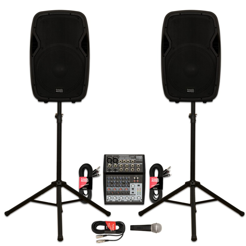 "Acoustic Audio AA15BT Powered 2000 Watts 15"" Bluetooth Speaker Pair with Mixer Mic and Stands"