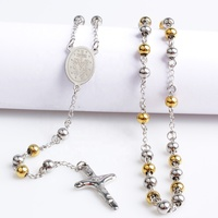 Popular Mexican Cross Necklace Religious Dubai Gold Chain Rosary Necklace