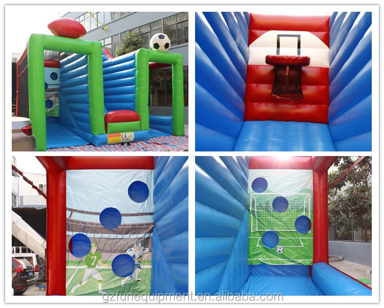 Inflatable Sports Game 3 In 1 Inflatable Shoot Out Games For Sale