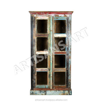 Vintage Reclaimed Solid Wood Farmhouse Glass Display Cabinetindian