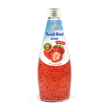 290ml Strawberry flavour Basil seed Drink in Glass bottle Juice
