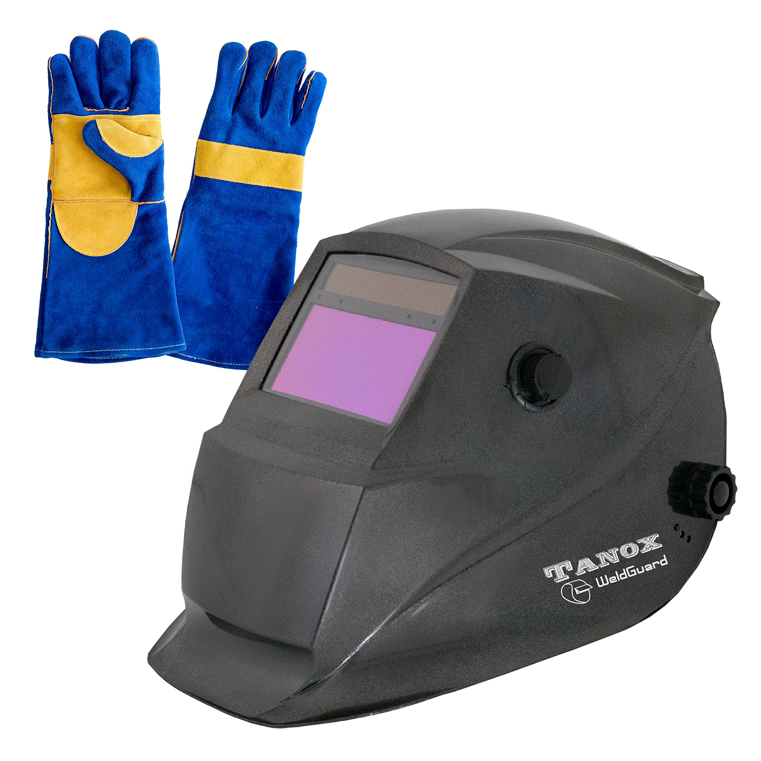 Tanox Auto Darkening Solar Powered Welding Helmet ADF-206S: Shade Lens Plus 16 Inch Kevlar Fire Retardant Welding Gloves Adjustable Range 4//9-13 Grinding 0000 Tig Mig MMA