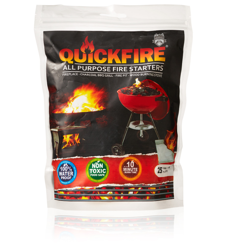 QuickFire All Purpose Wax Fire starter For Wood Stove, Fireplace, Fire Pit, Charcoal & BBQ Grill - 25 Sachets