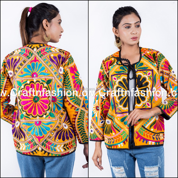 Indian ethnic kutch embroidery jacket - Vintage tribal embroidered cotton jacket for women - Wholesale navratri readymade jacket
