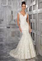 TOP Long Length White Beautiful Lace Neck Mermaid Bridal Wedding Dress Patterns Charming