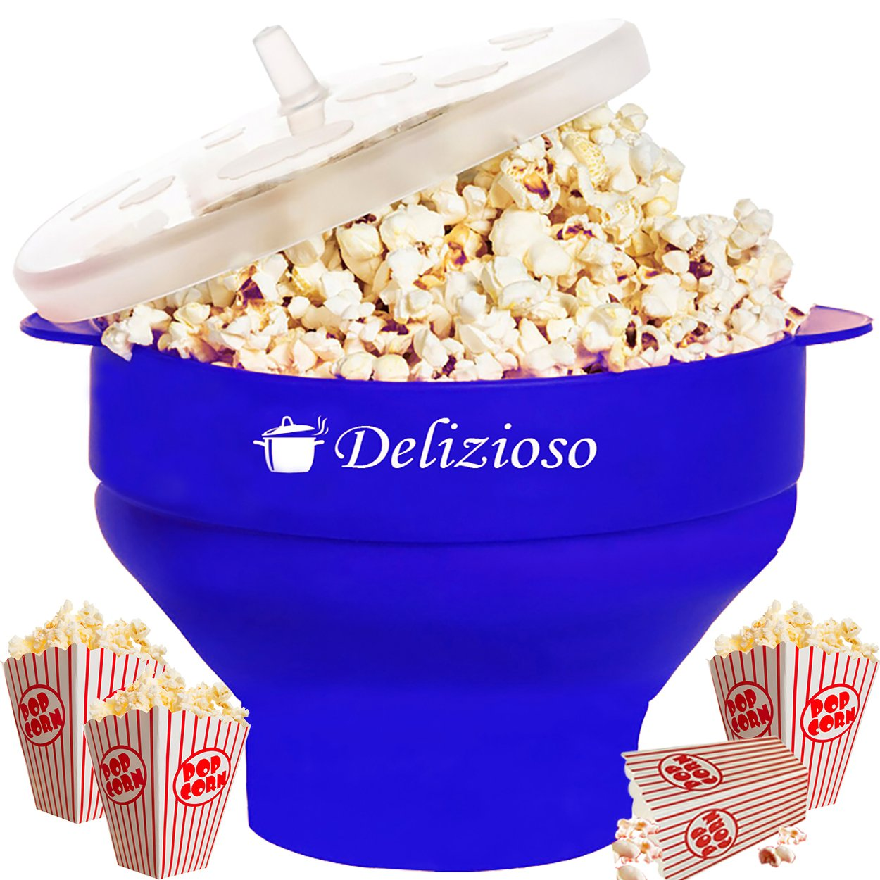 The Original Delizioso Microwave Popcorn Popper/Big Popcorn Maker, No Oil Needed, Silicon Collapsible Bowl With Silicon Lid 7.8 X 4.3 X 5.7 Inches, BPA and PVC Free + 2 Gifts (Blue)