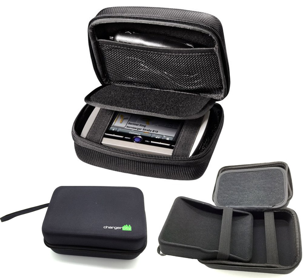 "ChargerCity Exclusive 4.3"" 5"" inch GPS Hard Case with Multi-Compartment for TOMTOM GO LIVE 50 500 2505 2535 Start 55 50 45 XL XXL 535 540 550TM VIA 1505 1535 1435 1535 T TM M SatNav GPS Receiver"