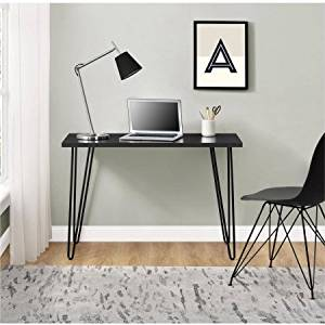 Retro Desk,Multiple Colors,Office Furntirue,Writing Desk,Dining Room,Powder-Coated Metal Legs,Made from Laminated Particleboard,Home Furniture,Computer Desk,BONUS e-book (Black)