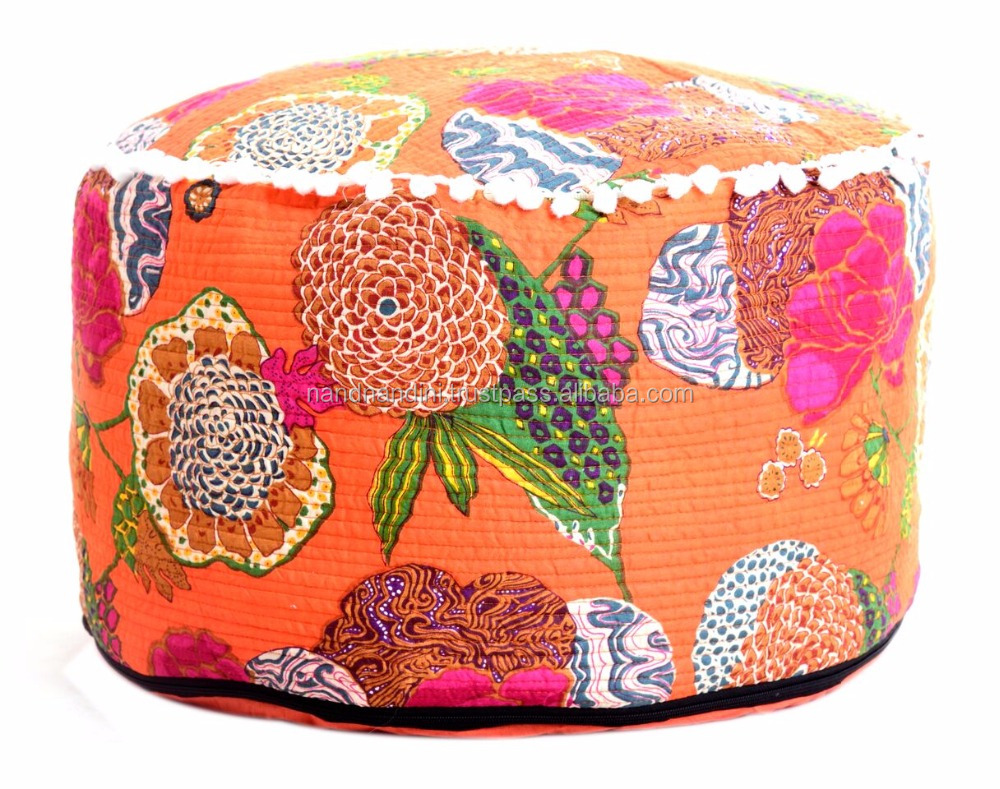 Vintage Embroidered Boho Pouf Cover Indian Handmade Patchwork Seating Foot Stool Gypsy Bohemian Floor Seating Cushion Cover