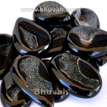 wholesale good quality black agate druzy natural stone