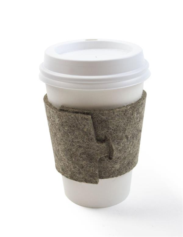 Custom Reusable cup sleeve Felt Natural Grey wool Felt Coffee Cup Sleeve