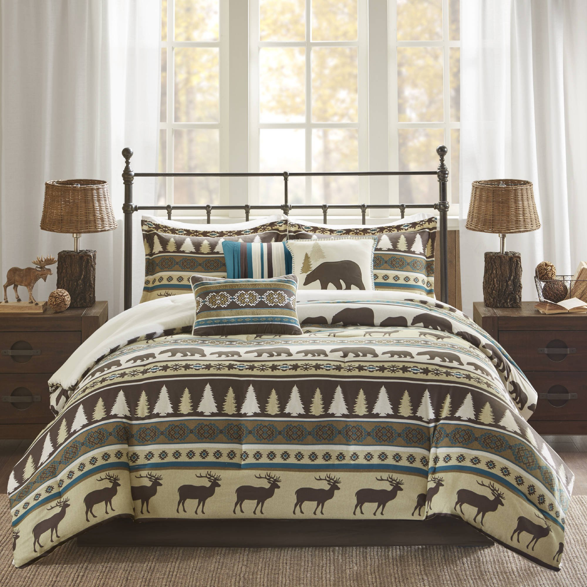 7 Piece Teal Blue White Brown Deer Pattern Comforter Cal King California Set, Hunting Bedding Bear Themed Cabin Lodge Elk Southwest Warm Cozy Overfilled Animal Print Montana Trees Butte, Polyester