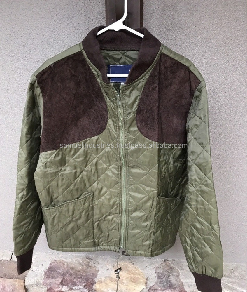 b22a31dcc3561 Mens Usa Quilted Shooting Jacket Hunting Quilted Bomber Jacket Forest Green  Nylon Bomber Jacket - Buy Genuine Leather Quilted Ribbed Bomber Biker Jacket  ...
