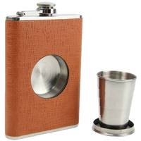 8 oz stainless steel brown leather hip flask with shot glass
