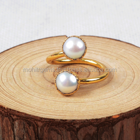 2 Pearl Cab Single Twisted Ring Invisible Setting Handmade Ring